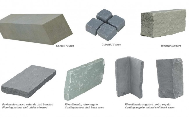 30 grey sandstone items - ardesia grigia elementi