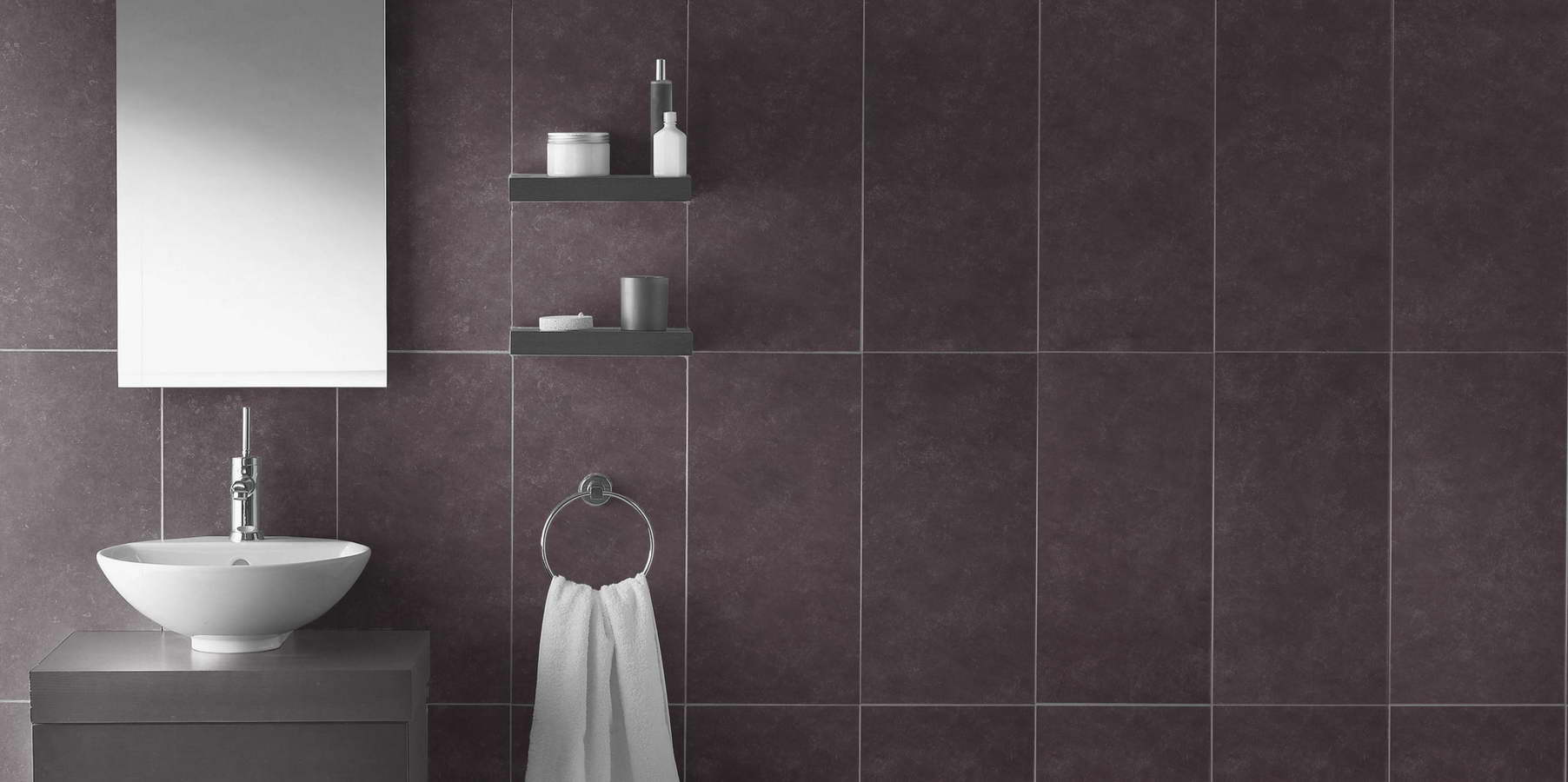 Design di interni bagno in ardesia viola rivestimento pareti piastrelle balfin stone - Piastrelle viola bagno ...